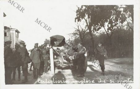 Varie guerra mondiale (Isonzo, Monfalcone, Gorizia, Carso). Artiglieria inglese che si sposta