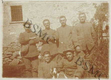 Serg. Sanatelli Vito, Cap. Ghezzi Celestino, Sold. Monti Emilio, Cap. Rinaldi Camillo, Cap. Colli, Cap. Cesana Emilio della 1452 C.M., Lovero Valtellino, settembre 1918