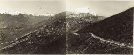 Panorama dalla valle del Ponale al M.te Stivo - Eseguito dal Dosso Tre Alberi 1.Monte Brione 2 M. Biaina 3.Arco 4.Fiume Sarca 5.Monte Creino 6.Monte Stivo