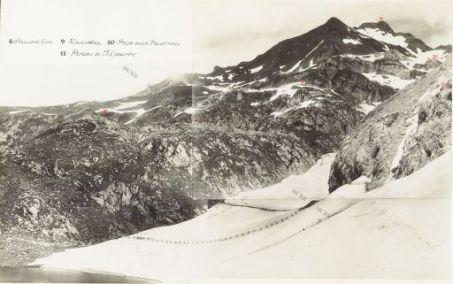 Il Lago di Volaja ed il Rauchkofel. Visto dal Passo di Volaja. 19 Luglio 1917. 8. Stellung Eins; 9. Rauchkofel; 10. Passo della Valentina; 11. Pendici di Monte Coglians.