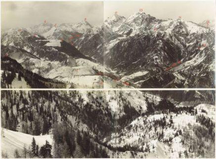 La Val Pontebbana - Val Fella da Monte Glazzat a Monte Schinouz. Vista da Monte Piccolo. 17 Marzo 1917.1. Monte Poccet; 2. Monte Cullar; 3. Monte Andri; 4. Monte Coglians; 5. Monte Salinchiet; 6. Monte Glazzat; 7. T. Pontebbana; 8. Monte Fortin; 9. Mont