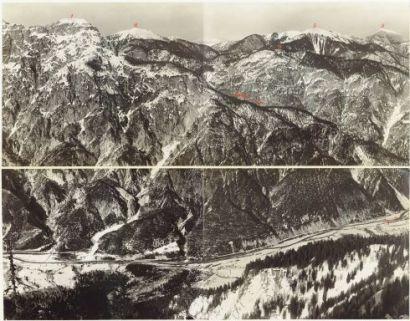 L'alta Valle Fella da Monte Gisnitz a Cuel dei Pezz. Vista da Monte Piccolo. 17 Marzo 1917.1. Gisnitz; 2. Jagerwand; 3. Wissenbach; 4. Gugg Ruchen; 5. Kok; 6. Osternig; 7. F. Fella.