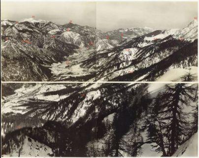 L'alta Valle Fella da Monte Gisnitz a Cuel dei Pezz. Vista da Monte Piccolo. 17 Marzo 1917.8. Gugg Berg; 9. Stabet; 10. LUsnitzer Bg.; 11. Rio Malborghetto; 12. Achomitzer; 13. Buchkopf; 14. Malborghetto; 15. Durrer Wipsel; 16; Kapin; 17. F. Hensel; 18.