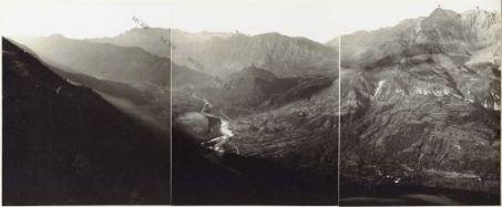 Il Monte Nero dal Monte Machnoi (Kolovrat). 24 Settembre 1915. 1. Caporetto; 2. Veliki Vhr; 3. Volnik; 4. Monte Nero; 5. Monte Rosso.
