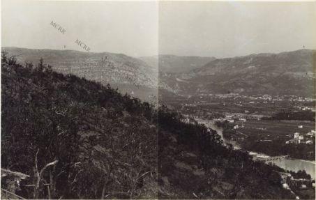 Panorama dal Monte Sabotino a San Grado. Visto dalla Collina di Podgora q.ta 240. 25 Settembre 1916.1. Convento di M. Santo. 2. M. Sabotino. 3. Salcano. 4. Ponte di Peuma. 5. S. Caterina. 6. M. S. Gabriele. 7. Ponte di Grafenberg.