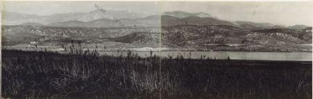Panorama dalla Quota 85 di Monfalcone a Triestse. Eseguito da Lunga Riva. 30 Ottobre 1916. 3. Sablici. 4. Selo. 5. Temnica. 6. Ferrovia Monfalcone-Trieste. 7. Medeazza.