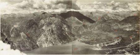 Panorama dal M.te Varagna della Conca di Riva e della Val Lagarina (Luglio 1917). 1.Cima al Bal 2.Lago di Cedro 3.Valle T.Ponale 4.Nozzolo 5.Cadria 6.Rocchetta 7. Campi 8.Riva 9.M.te Tombio 10. Valle di Varaone 11.M.te Lomasone 12.Varignano 13. Monte Brio