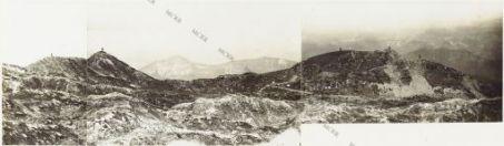 Panorama del Dente italiano a Q.ta 2088. Eseguito dal Corno di Pasubio Agosto 1918 1 Piccolo Rojte 2. Rojte 3. Col Santo 4. Quota 2125 5. Quota 2088