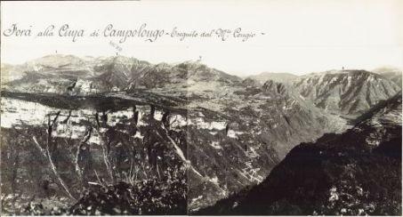 Panorama dal M.te Pria Forà alla Cima di Campolongo eseguito dal M.te Cengio 27 luglio 1916. 1.M. Toraro 2. Campomolon 3. Spitz Tonezza 4. Tonezza 5. Forte Campo di Luserna 6. Valle del Torrente Astico