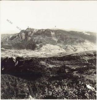 Panorama dal M.te Pria Forà alla Cima di Campolongo eseguito dal M.te Cengio 27 luglio 1916. 1.Castelletto 2. Punta Corbin 3. Cima di Campolongo 4. Rotzo 5. M. Verena