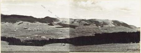 Panorama della Conca di Asiago. Settore Ovest - Nord - Est. Eseguito dal Monte Torle 4 Agosto 1916. 1.M. Zebio 2. S. Domenico 3. Bosco 4. M. Zebio (q.1819) 5. M. Catz 6. Asiago 7. Costa 8. M. Colombara 9. Val di Nos 10. M. Longara 11. Gallio 12. M. Melett