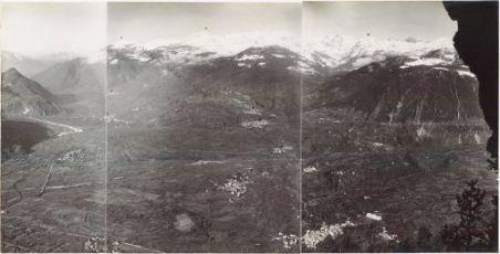 Panorama della Val Sugana dal Monte Levre Ottobre 1916. 1. Castelnuovo 2. Panarotta 3. Borgo 4. Roncegno 5. Villa 6. Frawort 7. Torrente maso 8. Ceolino 9.Telve di sopra 10. Telve di sotto 11. Carzano 12. Scurelle 13. Strigno 14. Spera 15. Sasso Rosso 16.