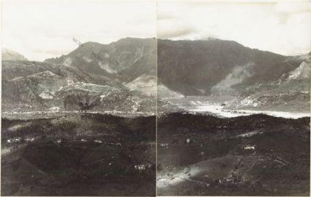 Panorama dal Costone di Monfenera al Montello Eseguito dai pressi della q.ta 357 di M.te Fagaré (Cornuda) 17 Aprile 1918 1. Costone di Monfenera 2. Pederobba 3. M. Santo 4. Quero