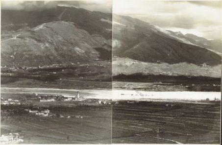 Panorama dal Costone di Monfenera al Montello Eseguito dai pressi della q.ta 357 di M.te Fagaré (Cornuda) 17 Aprile 1918 1. Onigo 2. Riva 3. Barbozza 4. Pieve 5. S. Pietro di Barbozza 6. S. Stefano