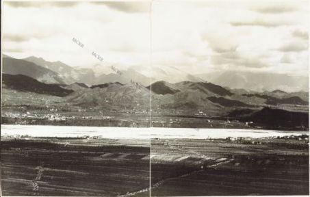 Panorama dal Costone di Monfenera al Montello Eseguito dai pressi della q.ta 357 di M.te Fagaré (Cornuda) 17 Aprile 1918 1. Bigolino 2. San Giovanni 3. Col Mongarda 4. M. Moncader