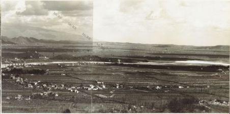 Panorama dal Costone di Monfenera al Montello Eseguito dai pressi della q.ta 357 di M.te Fagaré (Cornuda) 17 Aprile 1918 1. Rovigo 2. Vidor 3. Levada 4. Mosnigo 5. Pieve di Soligo 6. Abbazia di Vidor 7. Fontigo 8. Sernaglia