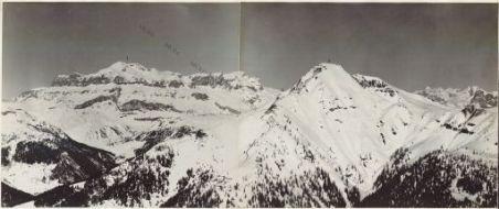 Panorama dal Monte Marmolada a M.te Averan Eseguito da Monte Porè (quota 2132) 18 Marzo 1916. 1. Gruppo Sella 2. P.sso di Campolungo 3. Col di Lana