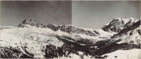 Panorama dal Monte Marmolada a M.te Averan Eseguito da Monte Porè (quota 2132) 18 Marzo 1916. 1 Settsass 2. Castello di Buchenstein 3. Punta Cunturinus