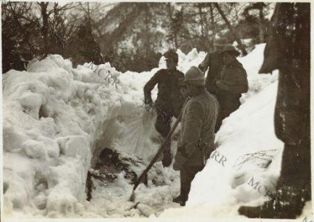 Il bersagliere Motti travolto da una valanga il 4 Marzo 1916