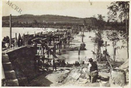 Mainizza - Costruzione ponte sull'Isonzo