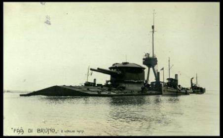 """Monitore italiano """"Faà di Bruno"""" (II x 381 mm.), costruito a Venezia"""