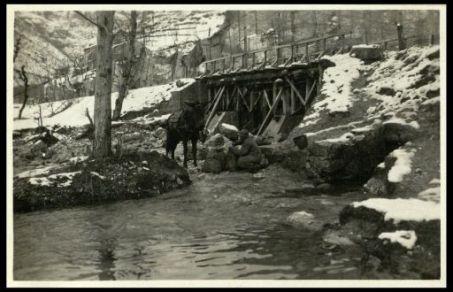 I rifornimenti d'acqua per le truppe in linea. Val Posina.