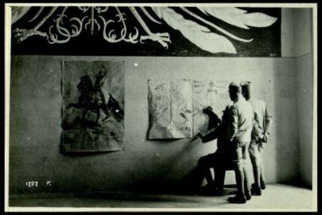 Ai campi di concentramento dell'Italia centrale e meridionale. 1 - 15 giugno 1918. A Casa Giove. Caserta. La sala convegno decorata di fregi e  motti umoristici
