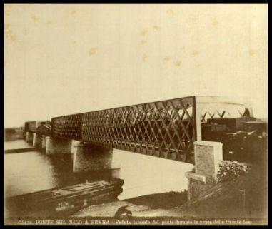 35418. Ponte sul Nilo a Benha - Veduta laterale del ponte durante la prova delle travate fisse