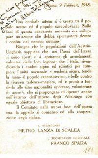 Una cordiale intesa si è creata tra il popolo nostro e il popolo czecoslovacco ... / Il presidente Pietro Lanza di Scalea