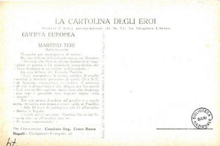 I nostri eroi : Martino Teri da Giarratana (Siracusa), sottotenente, caduto a quota 126 (Grazigna) il 28 agosto 1917