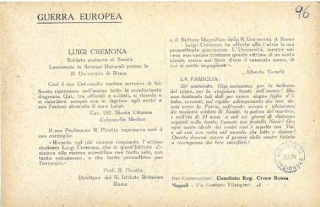 I nostri eroi : Luigi Cremona del prof. Francesco, da Monteleone Calabro, soldato aiutante di Sanità, morto il 3 settembre 1917