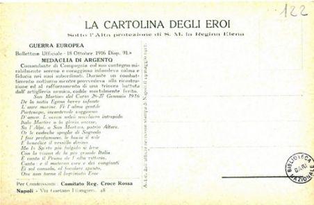 I nostri eroi : Arturo Di Vita di Gaspare, sottotenente di Compl.to da Favignana (Isola) (Trapani), caduto il 27 gennaio 1916 sul S. Martino del Carso