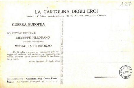 I nostri eroi : Giuseppe Fillorano, soldato bersagliere, Misterbianco (Catania), Punta Medatte, 31 luglio 1915
