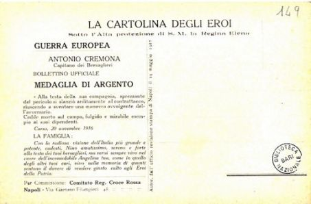 I nostri eroi : Antonio Cremona da Monteleone Calabro, capitano dei Bersaglieri, caduto a S. Grado di Merna il 20 novembre 1916
