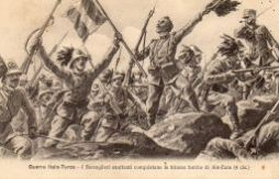 Guerra Italo-Turca. I Bersaglieri esultanti conquistano le trincee turche Ain Zara  (4 dic.)