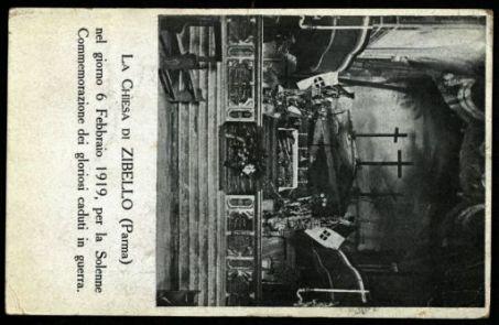La chiesa di Zibello (Parma) nel giorno 6 febbraio 1919, per la solenne commemorazione dei gloriosi caduti in guerra