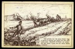 Vedi sull'altra riva i bei campi d'Italia? Oggi vi semina lo straniero per saziarsi del pane della nostra terra: SOLDATO D'ITALIA non cedere. Se cedi, anche il grano dei tuoi campi sazierà  l'invasore!