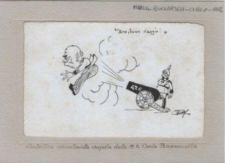 Sire buon viaggio : Cartolina caricaturista eseguita dalla M.O. Carlo Buccarella