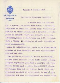 Lettera di Gino Fogolari a Corrado Ricci in risposta della lettera del 3 aprile 1919 sul tentativo di stima dei quadri della Galleria Imperiale di Vienna scelti per i compensi