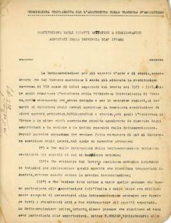 Commissione complessiva per l'esecuzione delle clausole d'armistizio : Restituzione degli oggetti artistici e bibliografici asportati dalle provincie già invase