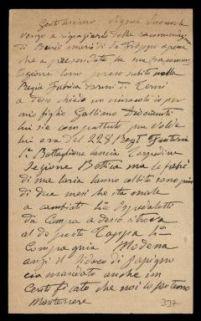 Lettera di Luigi Diociaiuti inviata all'onorevole Antonio Solidati Tiburzi