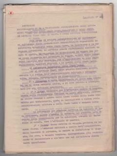 """""""Istruzioni. Notificazione N. 56: trattamento amministrativo delle infermiere volontarie della C.R.I., Samaritane e delle Suore in servizio nella zona di guerra e negli ospedali territoriali""""."""