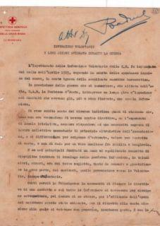 """""""Infermiere volontarie e loro azione spiegata durante la guerra"""": relazione di Emilia Anselmi Malatesta, segretaria di S.A.R. la Duchessa d'Asota."""