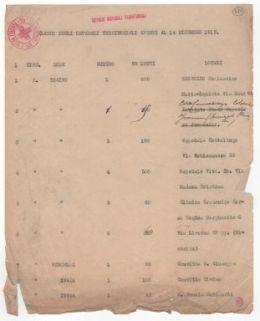 """""""Elenco degli Ospedali Territoriali aperti al 14 dicembre 1915""""."""