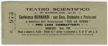 Teatro scientifico[di Mantova]. 30 maggio 1918 - ore 21. Conferenza Bernardi - con coro, orchestra e proiezioni