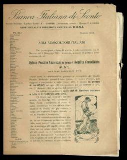 Agli agricoltori italiani ... Quinto prestito nazionale in forma di rendita consolidata al 5% … / Banca Italiana di Sconto, Roma