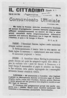Comunicato ufficiale, 25 settembre 1918