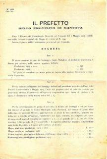 Il Prefetto della provincia di Mantova, visto il decreto del Commissario generale pei consumi del 2 maggio 1917, pubblicato nella Gazzetta ufficiale del Regno il 3 detto al n. 104; sentito il parere della Commissione provinciale peri consumi, decreta..