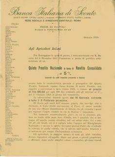 Agli agricoltori italiani…quinto prestito nazionale in forma di rendita consolidata al 5% / Banca Italiana di Sconto, Sede di Napoli