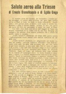 Saluto aereo alla Trieste di Ernesto Gramaticopulo e di Egidio Grego / Gabriele d'Annunzio